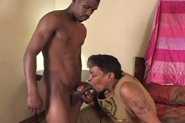 Black granny likes along to young cock