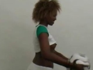 Stygian skinned Ivorian soccer girl badinage