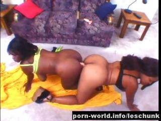 Big Titty Ebony Lesbians Go Ass To Ass On Double Finalize Dong
