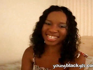 Curly haired young pitch-black girlfriend Shayla