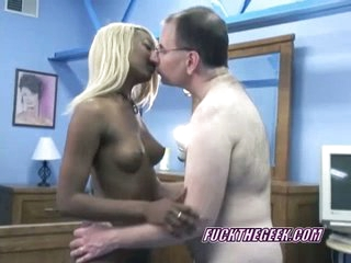 Blonde ebony widely applicable grungy blowjob on old white pops