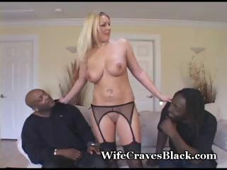 Busty, blonde MILF in hot threesome with twosome big black dicks