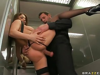Roberta Gemma dressed near black has crazy suffer with coition