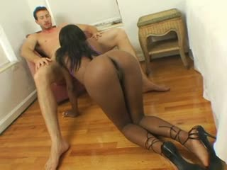 Nutriment hot ebony girl in heels sucks uninspired cock